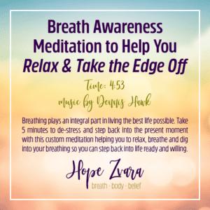 Breath Awareness Meditation Hope Zvara